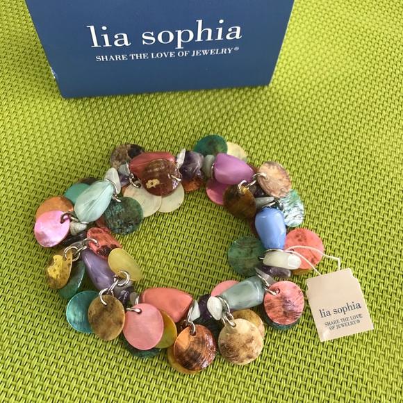 Lia Sophia Jewelry - NWT LIA SOPHIA MUTI COLOR STRETCH BRACET